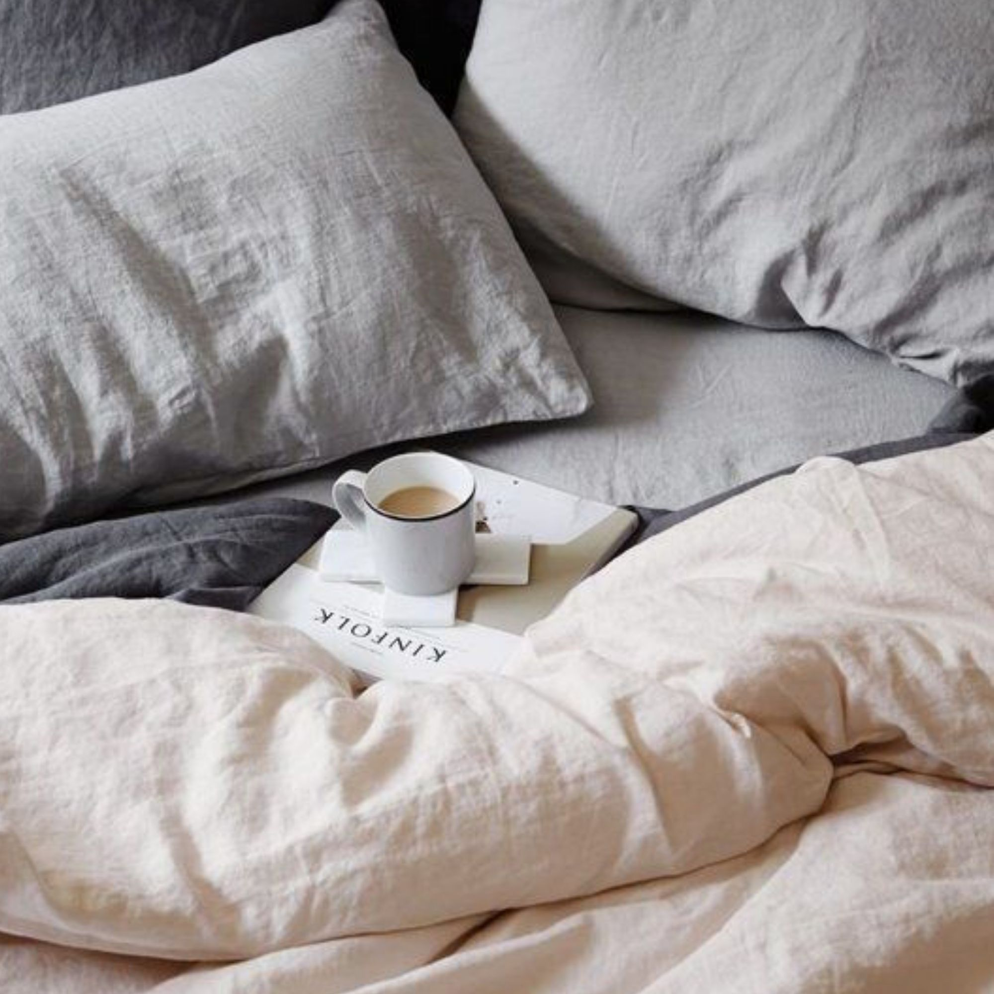 Coffee in bed with comforter