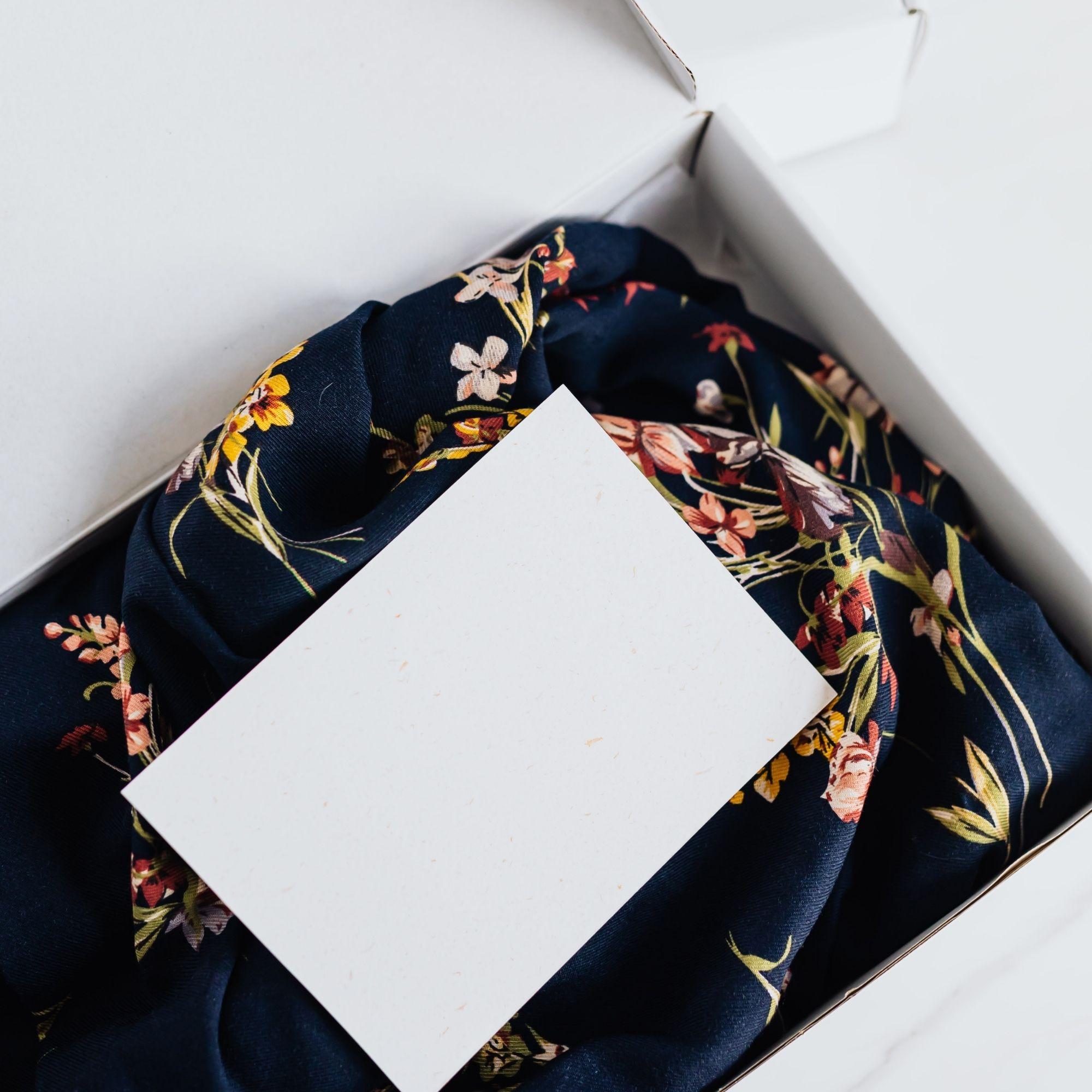 Silk floral print cloth in white gift box