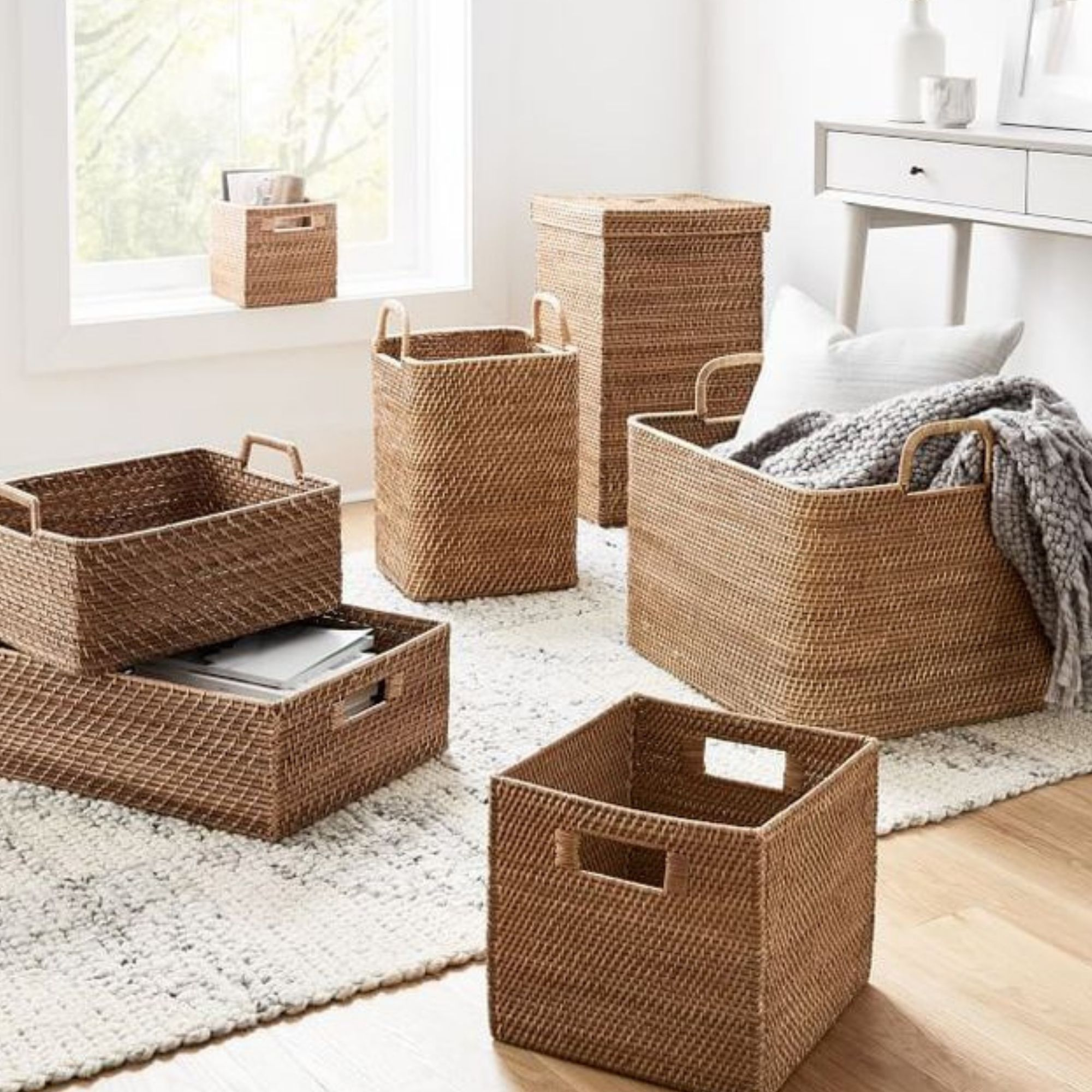 Brown wicker baskets stacked