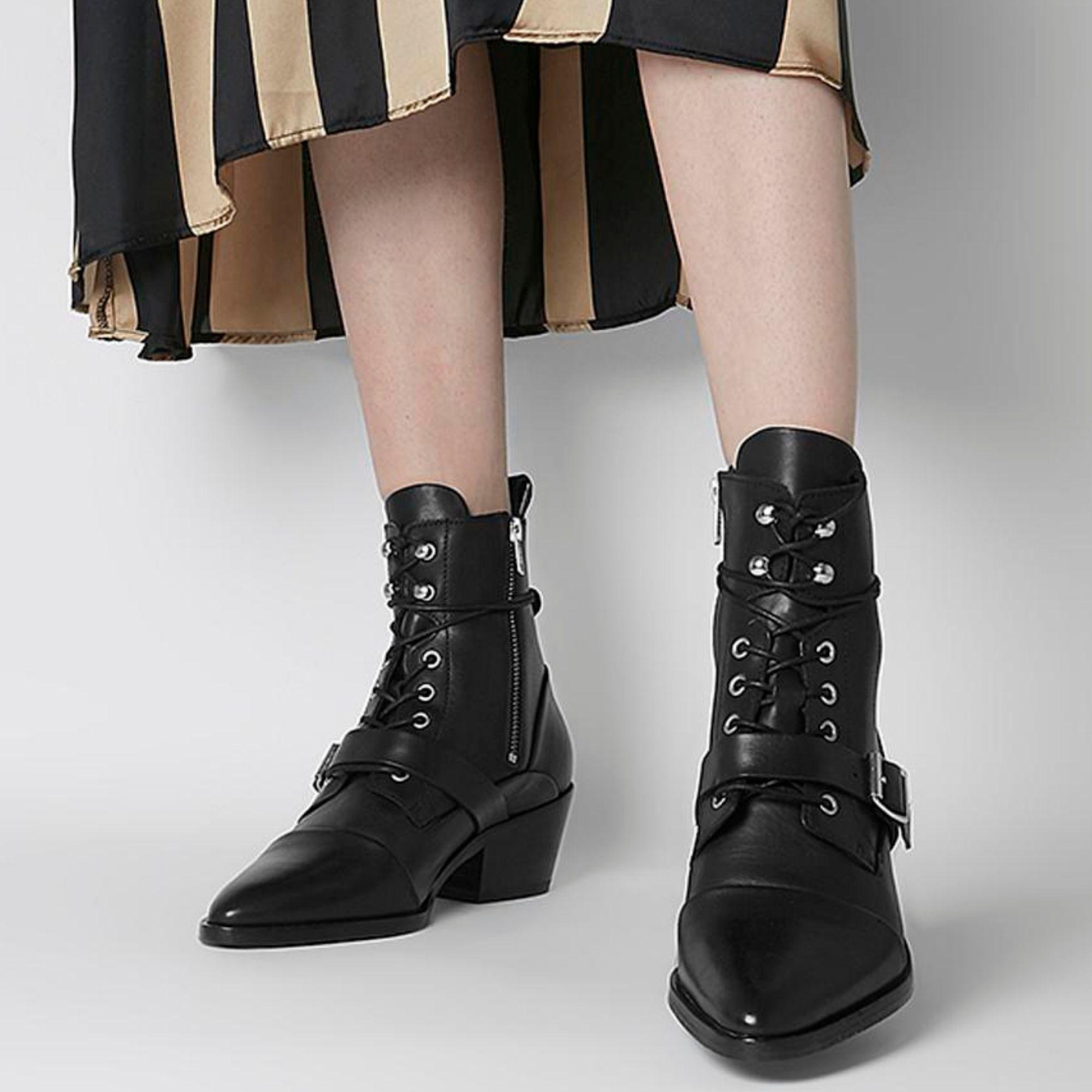 Black combat boots with heel