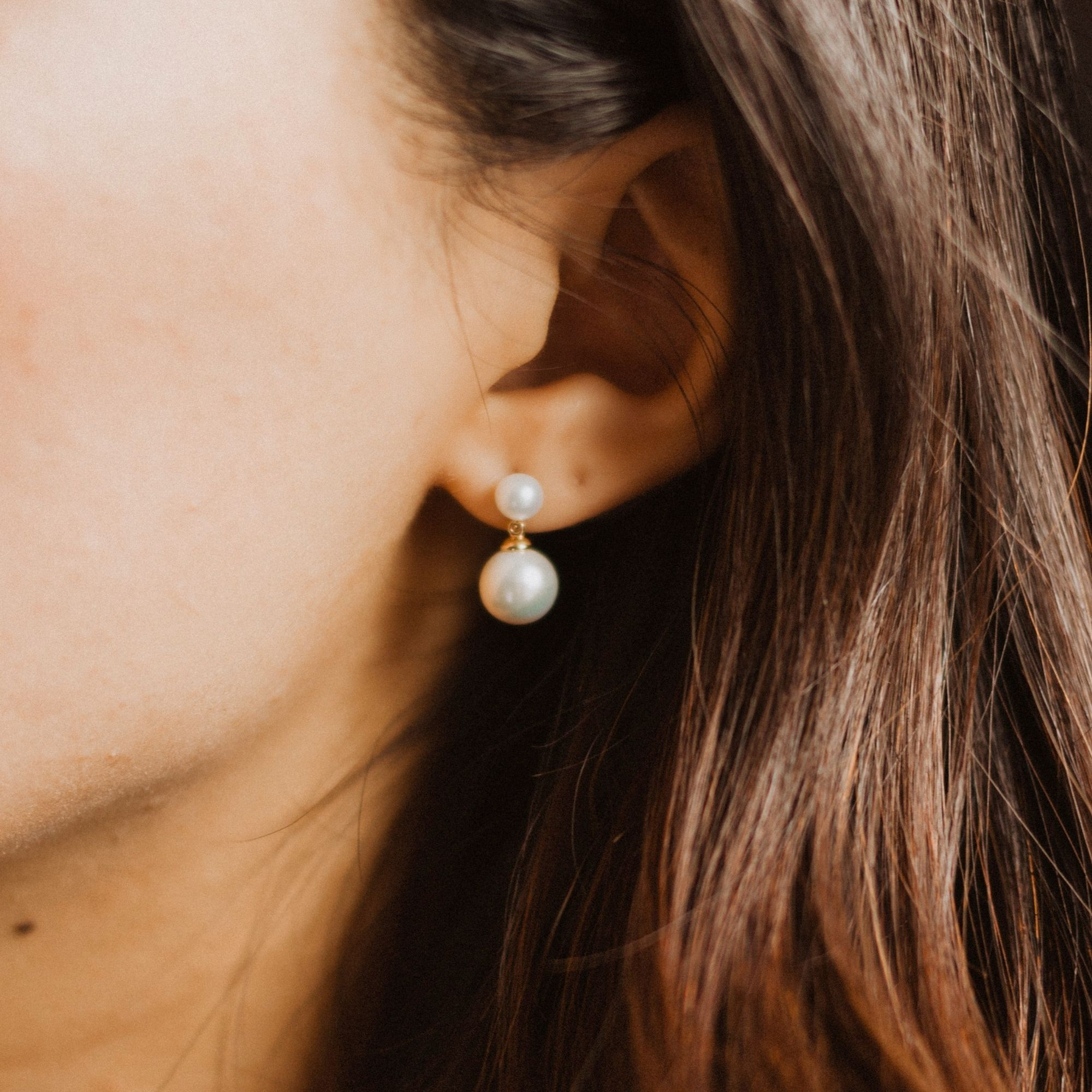 Peoples Jewellers Freshwater Pearl and Diamond Stud