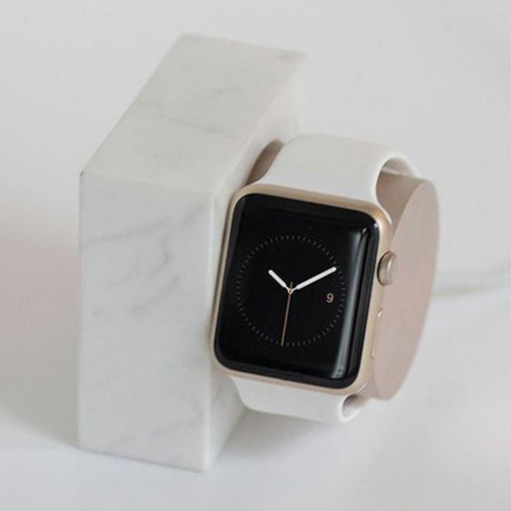 Apple watch and straps on marble block