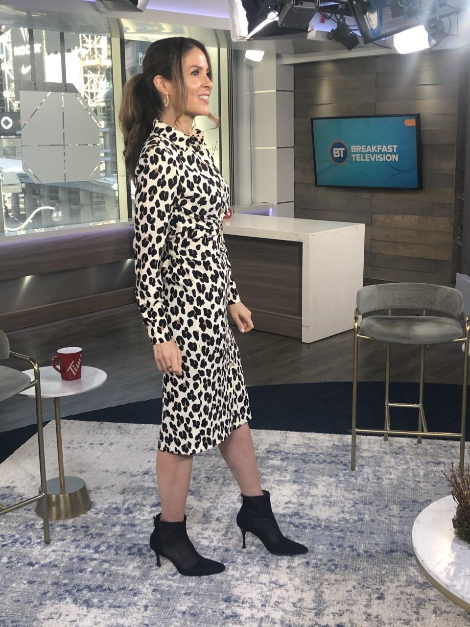 Animal printed dress with black booties
