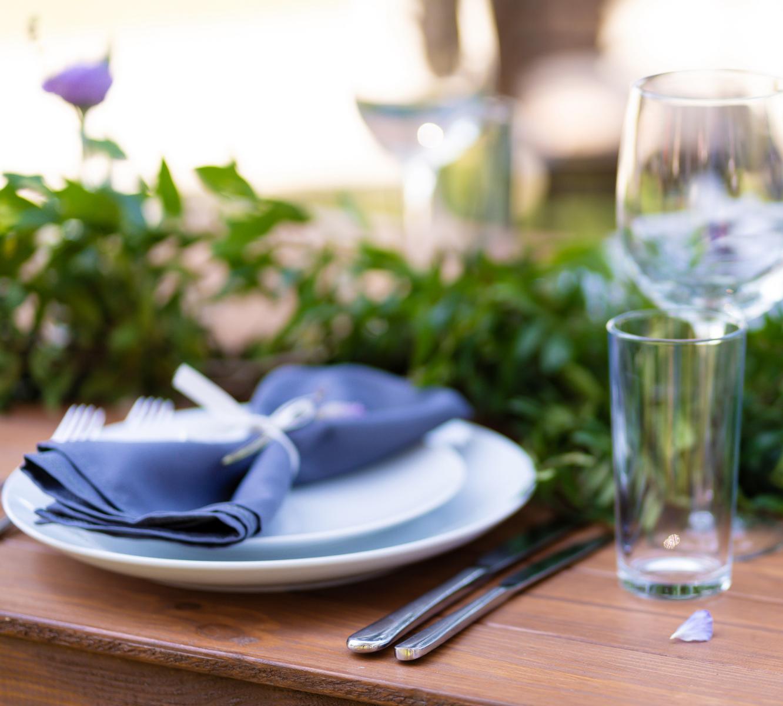 Plate, utensils, glasses, greenery
