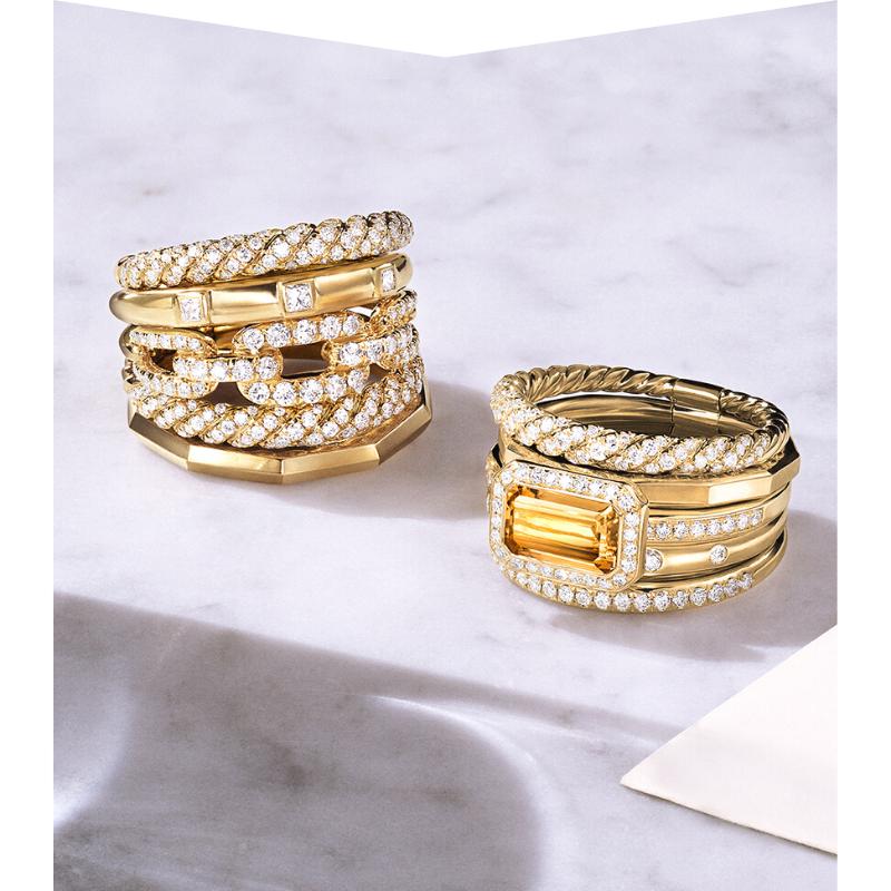 Stacked David Yurman rings in gold