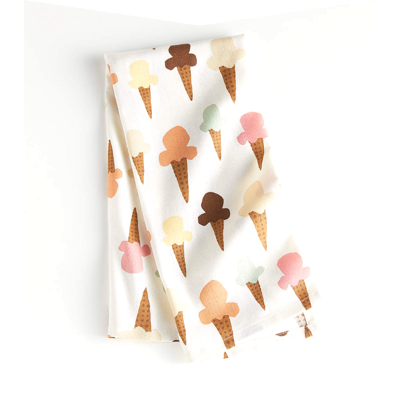 Dish Towel with ice cream cone pattern