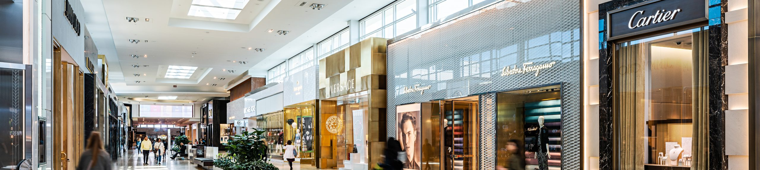 Luxury stores in mall