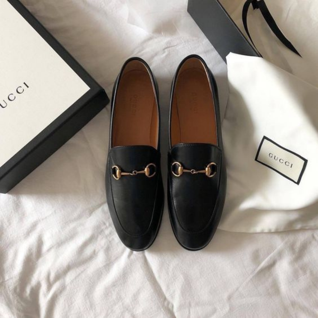 Black gucci leather loafers