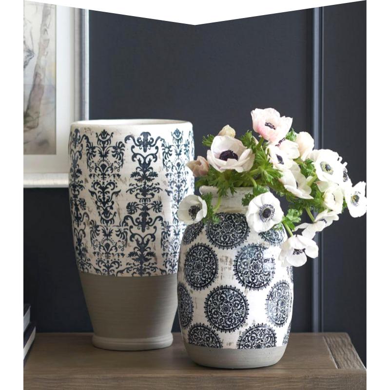 Patterned ceramic vases