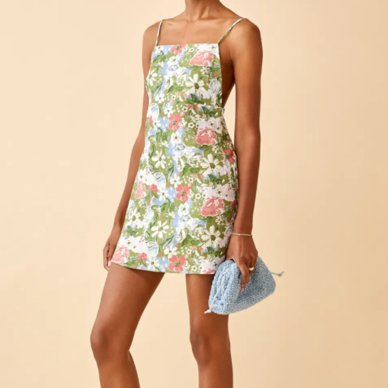 green floral dress from Reformation